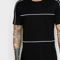ASOS Longline T-Shirt With Contrast Piping In Black
