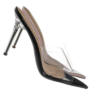 Kulture1 Clear High Heel Slippers - Lucite Pointed Open Toe  Stiletto Slide Mule
