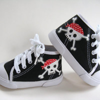Boys Pirate Shoes, Baby and Toddler, Skull and Crossbones, Hand Painted, Black Hi Top Sneakers