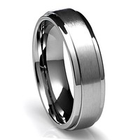 6MM Titanium Ring Wedding Band with Flat Brushed Top and Polished Finish Edges [Size 8.5]