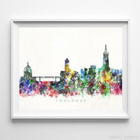 Toulouse France Watercolor Skyline Wall Art Home Decor Poster UNFRAMED by Inkist Prints
