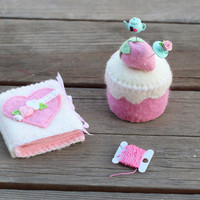 Pincushion and Needle Book set, pink hearts and strawberries sewing accessory