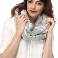 Classic Plaid Infinity Scarf - Gray or Camel