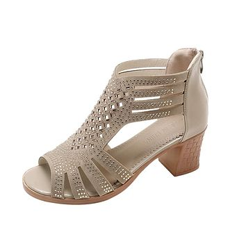 Women Fashion Crystal Hollow Out Peep Toe Wedges Sandals High Heeled Shoes