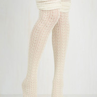 Boho Put Your Strut In Me Thigh Highs in Ivory by ModCloth