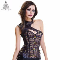 Corset Bustier Gothic Clothing steampunk corset Bodysuit Women Clothing Armor Bustier With Shoulder Bolero Steel Boned Corset