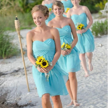 High Quality Sky Blue And Coral Short Cheap Bridesmaid Dresses Under 50 Chiffon Short Prom Wedding Formal Party Dress Cheap