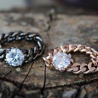 Glamorous Chain Ring Crystal Jewelry Unique Ring Celebration Gift Idea Color Select 1piece