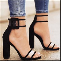 Hot style hot selling buckle thick with transparent one-word buckle belt with high heels women's shoes