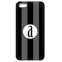 Black and Gray Stripes Phone Case with Initial