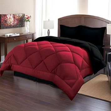 Sweet Home Collection 3 Piece Reversible Polyester Microfiber Goose Down Alternative Comforter Set with Pillow Shams, Full/Queen, Burgundy/Black