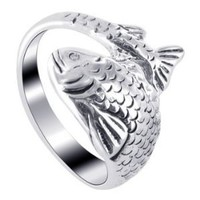 925 Sterling Silver Polished Finish Fish Ring
