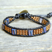 Beaded Leather Single Wrap Stackable Bracelet with Purple Spiral Glass Beads and Gold Bronze Glass Seed Beads on Black Leather