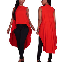 Red Sleeveless Loose High Low Top