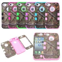 JUSTING@Triple Layer Hybrid Real Tree Camo Hybrid Hard Case Cover for iPhone 5/5S (baby pink)