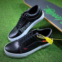 OFF WHITE x Vans Old Skool OW Black White Leather Shoes - Best Online Sale
