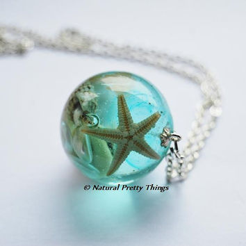 The Mermaid's Necklace 13 Nautical Jewelry Resin Starfish Tiny Seashells Aqua Specimen Necklace Fairy Tale Fantasy Unique Handmade