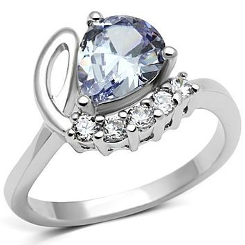 Pre Engagement Ring 3W030 Rhodium Brass Ring with AAA Grade CZ