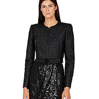 BCBGMAXAZRIA Duke Floral-Quilted Faux-Leather Moto Jacket - Black