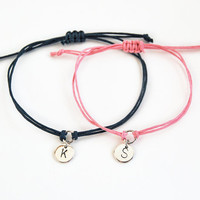 Personalized couple bracelet set, couple gift set, his her initial bracelet set in navy and pink, hand stamped