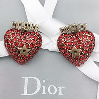 Dior Fashion new letter star diamond long earring accessory Red