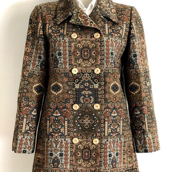 GUY LAROCHE!!! Vintage 1970s 'Guy Laroche' woven tapestry, double breasted jacket with fold over collar and side pockets / Made in France