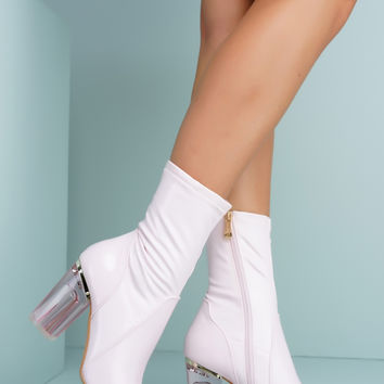 Fay Patent Perspex Booties - Pink