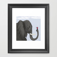 Bertha The Elephant And Her Visitor Framed Art Print by One Artsy Momma