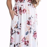 Women's Short Sleeve White Boho Floral Print Midi Long Dress