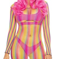Rainbow Long Sleeve Fishnet Mini Dress