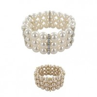 """Simulated Pearl and Crystal Triple-Row Bracelet, 7"""""""