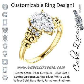 Cubic Zirconia Engagement Ring- The Lark (Customizable 7-stone Pear Cut Design with Vertical Round-Channel Accents)