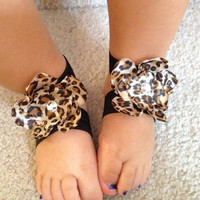 Cheetah print barefoot sandals for baby girls- Bottomless sandals- Newborn Baby Girl Children shoes