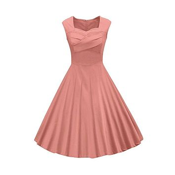 Classy Audrey Hepburn Style 1950s Vintage Rockabilly Swing Dress, Sizes Small - 2XLarge (Peach)