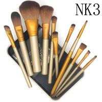 12 pcs NAKE 3 Essential Kit Professional Makeup Brushes Set with Metal boxes Synthetic Hair