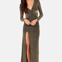 Starry Skies Black and Gold Maxi Dress