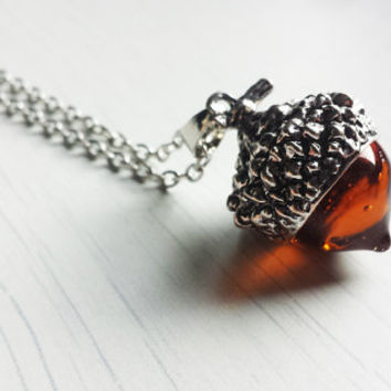 Glass acorn pendant, silver acorn necklace, acorn jewelry, rustic jewelry, forest jewelry, woods, autumn jewelry, fall, rustic bridesmaid