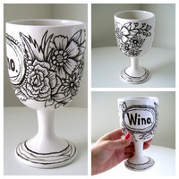 Wine Glass Painted Ceramic Goblet Wino Black Ivory Flowers Illustration Botanicals Cup