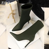 Winter Fashion Women Boots Beige Pointed Toe Elastic Ankle Boots Heels Shoes Autumn Winter Female Socks Boots