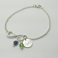 Infinity Bracelet with Aunt Charm and Birthstones-Gift for Sister, Gift for Aunt, GIft for Aunt, Aunt to Be