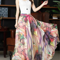 Ink painting Chiffon skirt Long skirt Bohemian skirt Maxi skirt summer Pleat skirt Beach Skirt chiffon dress plus size dress D34