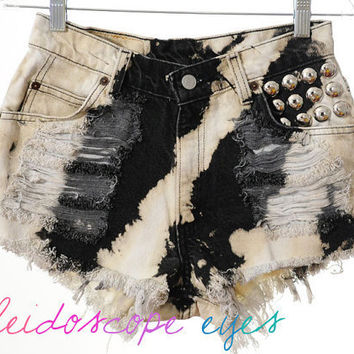 Vintage Levis Two Tone TIE DYE Denim Destroyed High Waist STUDDED Cut Off  Shorts S