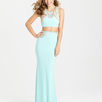 Madison James 16-362 Beaded Crop Top Two Piece Jersey Prom Dress
