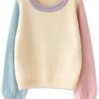 Essential Color Block Mohair Sweater - OASAP.com