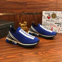 Dolce & Gabbana D&G Stretch Mesh Sorrento Sneakers With Logo Blue - Best Online Sale