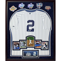 Derek Jeter Signed Yankees Home Jersey Framed w Career Moments Images and 5 WS Patches (32x40 6443)