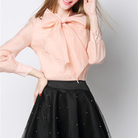 Chiffon Tie Collar Long Sleeve Top