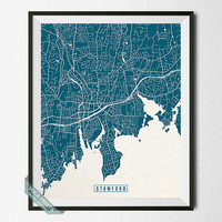 Stamford Print, Connecticut Poster, Stamford Poster, Stamford Map, Connecticut Print, Connecticut Map, Street Map, Wall Art