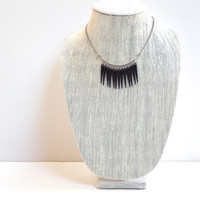 Black Necklace with Silver Chain and Lobster Clasp, Modern, Bold, Cascade Short Necklace