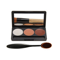 Professional 3 Color Face Concealer Foundation Palette Makeup Set & Oval Make up Brush